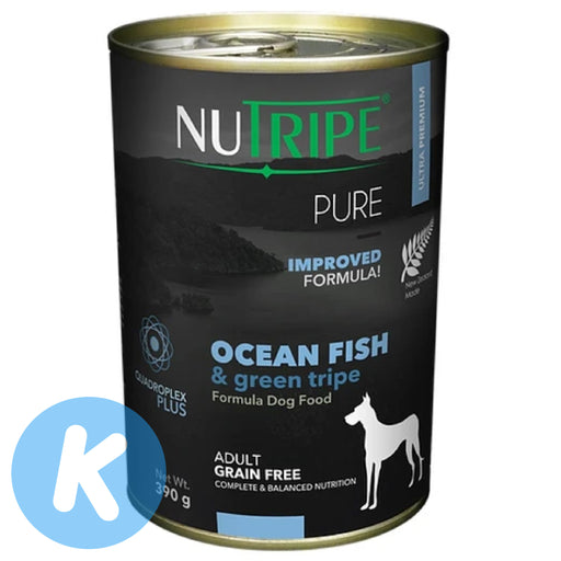 Nutripe - Pure Ocean Fish & Green Tripe Dog Wet Food 390g (12 Cans)