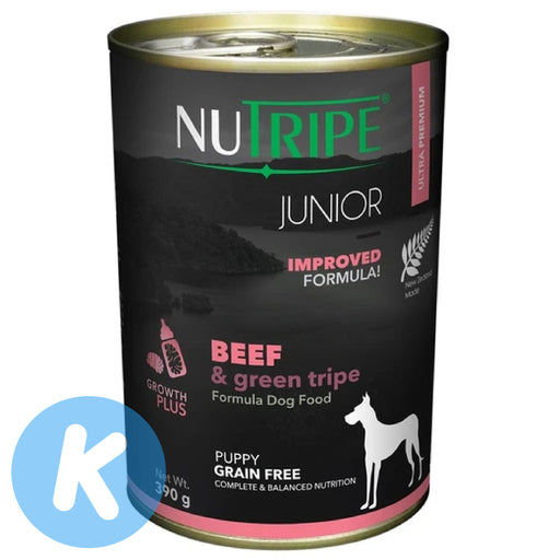 Nutripe - Junior Beef & Green Tripe Dog Wet Food 390g (6 Cans)
