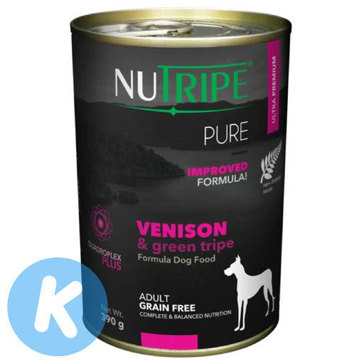 Nutripe - Pure Venison & Green Tripe Dog Wet Food 390g (6 Cans)