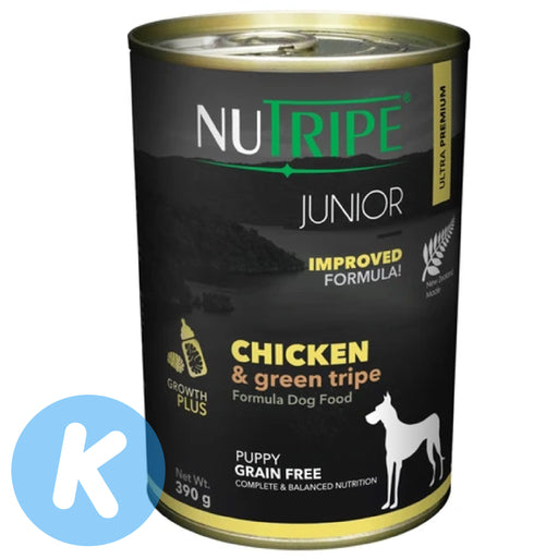 Nutripe - Junior Chicken & Green Tripe Dog Wet Food 390g (6 Cans)