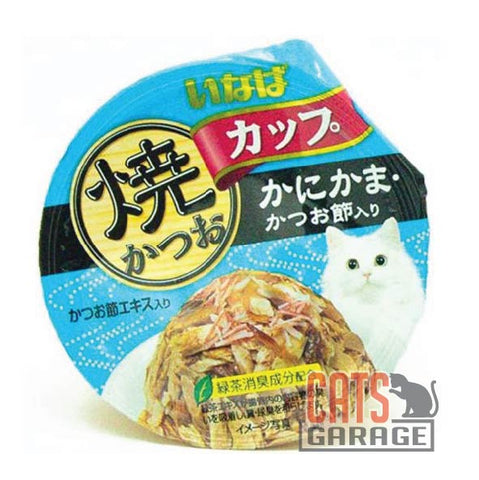CIAO® Cup - Grilled Skipjack Tuna in Gravy With Crabstick & Sliced Bonito Topping 80g