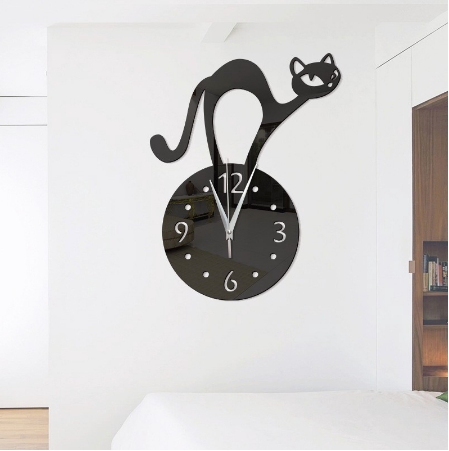 DIY Wall Clock 3D Cat Home Decor Acrylic Slient Needle Quart Clock - BLACK