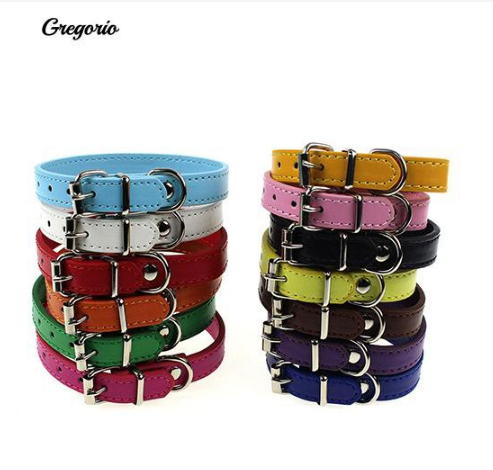 Faux Leather Pure Color Cute Perts Collar Neck Buckle