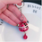 Cute Fortune Maneki Keychain with Bell - RED