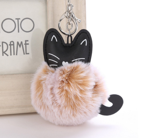 Cat Keychain Pompoms - KHAKI