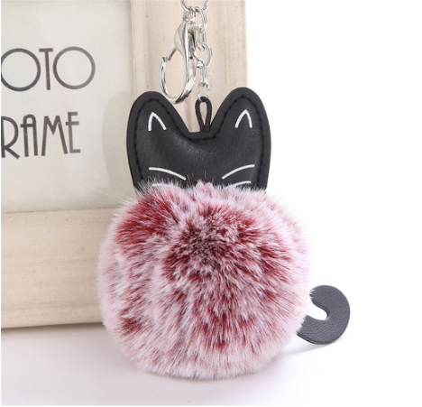Cat Keychain Pompoms - RED