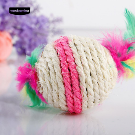Feather Sisal Ball Durable Chew Biting Scratch Playing Toy