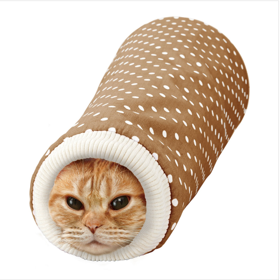 Marukan Sleeve Shaped Tunnel For Cats - Brown