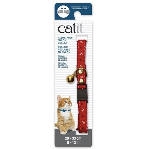 Catit® - Adjustable Breakaway Nylon Collar with Rivets - Red Nautical