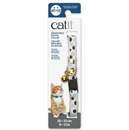 Catit® - Adjustable Breakaway Nylon Collar with Rivets - White with Polka Dots