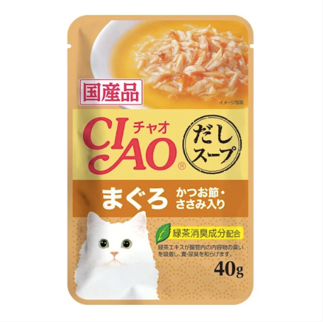 CIAO® Clear Soup - Chicken Fillet, Tuna Maguro & Bonito 40g X 16 Pouch