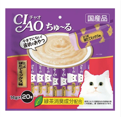 CIAO® ChuRu - Tuna & Scallop Liquid 14g X20pcs