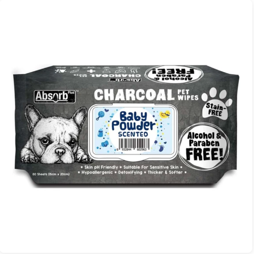 Absorb Plus Charcoal - Baby Powder Scented Pet Wipes 80Pcs