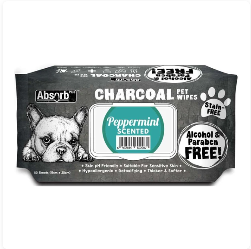 Absorb Plus Charcoal - Peppermint Scented Pet Wipes 80Pcs