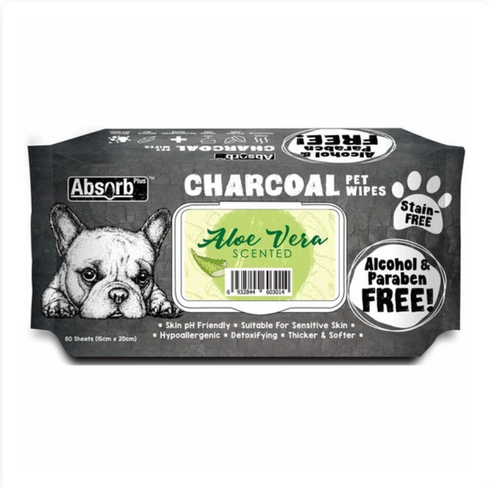 Absorb Plus Charcoal - Aloe Vera Scented Pet Wipes 80Pcs