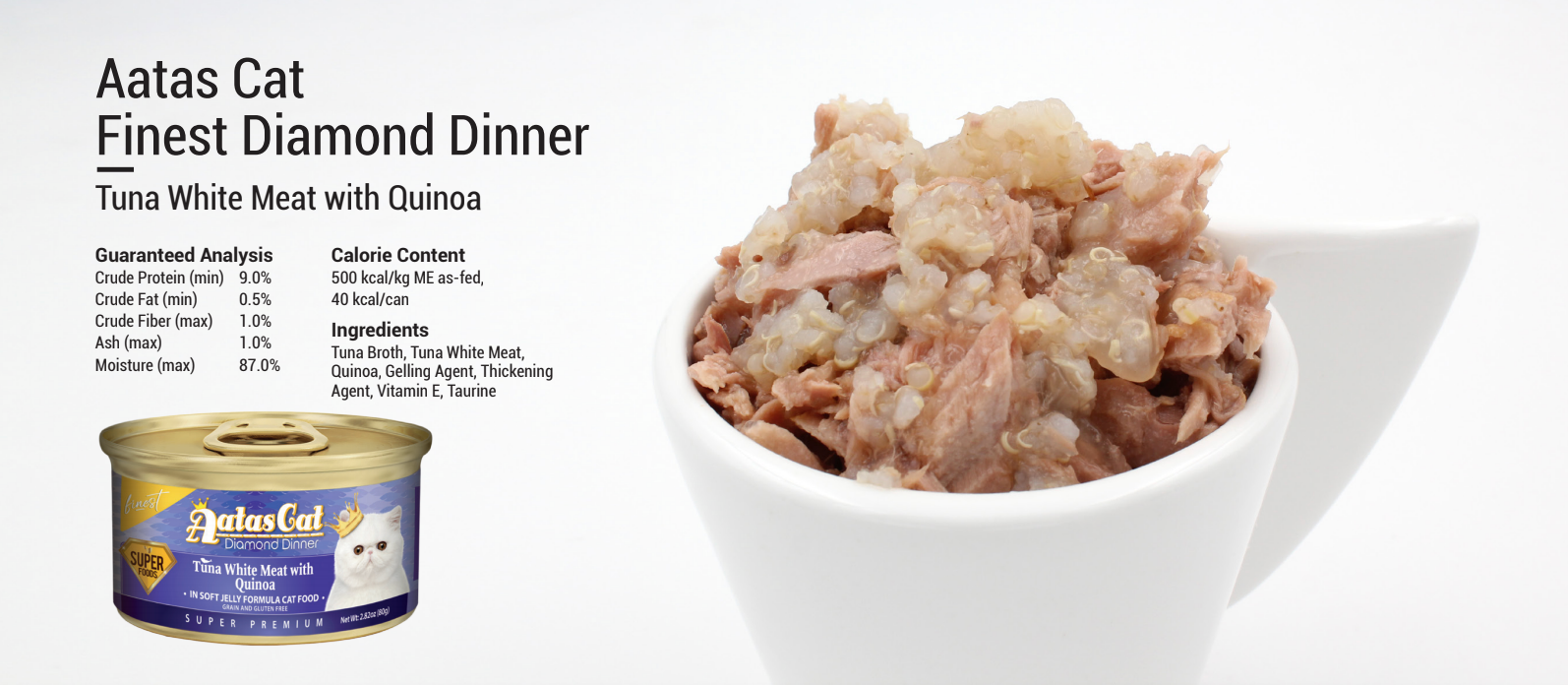 AATAS CAT Finest Diamond Dinner - Tuna White Meat with Quinoa 80g