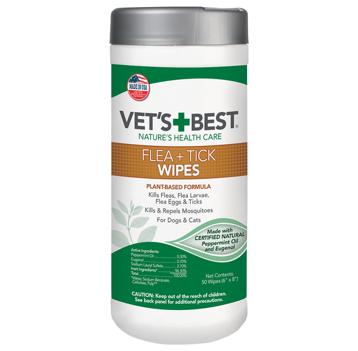 Vet's Best® - Flea & Tick Wipes [Cats & Dogs] 50pcs
