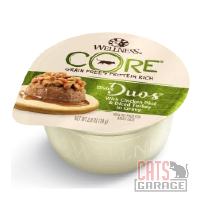 Wellness Core Devine Duos - Chicken Pate & Diced Turkey in Gravy 2.8oz Wet Cat Food (12 Cups)