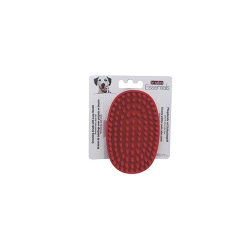 Le Salon Essentials Dog Rubber Grooming Brush with Loop Handle, Red
