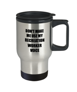 Recreation Worker Travel Mug Coworker Gift Idea Funny Gag For Job Coffee Tea 14oz Commuter Stainless Steel-Travel Mug