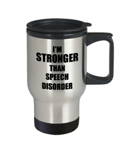 Load image into Gallery viewer, Speech Disorder Travel Mug Awareness Survivor Gift Idea for Hope Cure Inspiration Coffee Tea 14oz Commuter Stainless Steel-Travel Mug