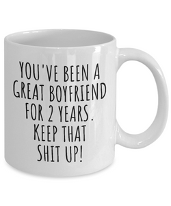 2 Years Anniversary Boyfriend Mug Funny Gift for BF 2nd Dating Relationship Couple Together Coffee Tea Cup-Coffee Mug