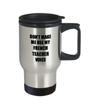 Load image into Gallery viewer, French Teacher Travel Mug Coworker Gift Idea Funny Gag For Job Coffee Tea 14oz Commuter Stainless Steel-Travel Mug