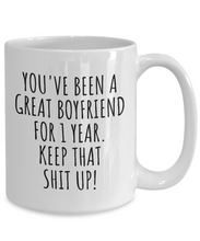 Load image into Gallery viewer, 1 Year Anniversary Boyfriend Mug Funny Gift for BF 1st Dating Relationship Couple Together Coffee Tea Cup-Coffee Mug