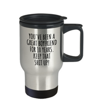 Load image into Gallery viewer, 10 Years Anniversary Boyfriend Travel Mug Funny Gift for BF 10th Dating Relationship Couple Together Coffee Tea Insulated Lid Commuter-Travel Mug