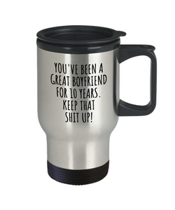 10 Years Anniversary Boyfriend Travel Mug Funny Gift for BF 10th Dating Relationship Couple Together Coffee Tea Insulated Lid Commuter-Travel Mug
