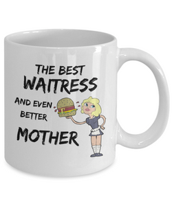 Funny Waitress Gag Mom Mug Best Mother Gift for Mama Novelty Coffee Tea Cup-Coffee Mug