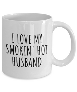 Funny Wife Mug Funny Gift for Valentine Present Birthday Anniversary I Love My Smokin' Hot Husband Coffee Tea Cup-Coffee Mug