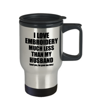 Load image into Gallery viewer, Embroidery Wife Travel Mug Funny Valentine Gift Idea For My Spouse From Husband I Love Coffee Tea 14 oz Insulated Lid Commuter-Travel Mug