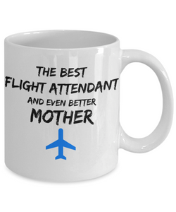 Flight Attendant Mom Coffee Mug Best Mother Funny Gift for Mama Novelty Gag Tea Cup Blue Plane-Coffee Mug
