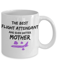 Load image into Gallery viewer, Funny Flight Attendant Mom Coffee Mug Best Mother Gift for Mama Novelty Gag Tea Cup Purple Plane-Coffee Mug