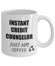 Load image into Gallery viewer, Credit Counselor Mug Instant Just Add Coffee Funny Gift Idea for Corworker Present Workplace Joke Office Tea Cup-Coffee Mug