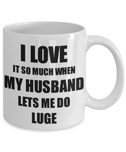 Load image into Gallery viewer, Luge Mug Funny Gift Idea For Wife I Love It When My Husband Lets Me Novelty Gag Sport Lover Joke Coffee Tea Cup-Coffee Mug