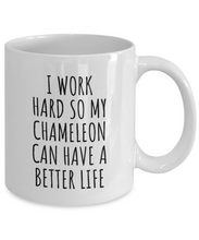 Load image into Gallery viewer, Chameleon Mug Funny Gift for I Work Hard So My Chameleon Mom Dad Present Idea Birthday Animal Lover Coffee Tea Cup-Coffee Mug