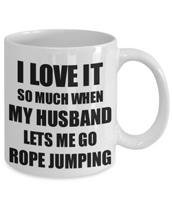 Rope Jumping Mug Funny Gift Idea For Wife I Love It When My Husband Lets Me Novelty Gag Sport Lover Joke Coffee Tea Cup-Coffee Mug