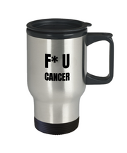 Load image into Gallery viewer, Fu Cancer Travel Mug Awareness Survivor Gift Idea for Hope Inspiration Coffee Tea 14oz Commuter Stainless Steel-Travel Mug