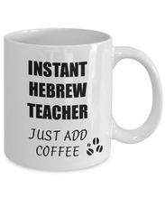 Load image into Gallery viewer, Hebrew Teacher Mug Instant Just Add Coffee Funny Gift Idea for Corworker Present Workplace Joke Office Tea Cup-Coffee Mug