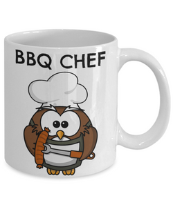Funny BBQ CHEF Mug Owl Lover mug for Him-Coffee Mug