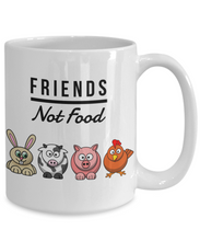 Load image into Gallery viewer, Friends Not Food Mug Funny Vegan Mug Animal Lover Gift Idea for Vegetarian Anti-Meat Coffee Tea Cup-Coffee Mug