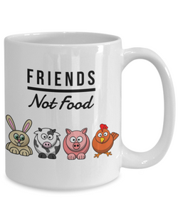 Friends Not Food Mug Funny Vegan Mug Animal Lover Gift Idea for Vegetarian Anti-Meat Coffee Tea Cup-Coffee Mug