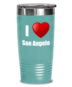 I Love San Angelo Tumbler City Lover Pride Funny Gift Insulated Lid Coffee Tea Cup-Tumbler