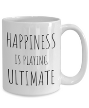 Load image into Gallery viewer, Funny Ultimate Player Gift - Frisbee Lover Coffee Mug Happiness is playing ultimate-Coffee Mug