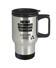 Load image into Gallery viewer, Electronics Engineering Technician Travel Mug Instant Just Add Coffee Funny Gift Idea for Coworker Present Workplace Joke Office Tea Insulated Lid Commuter 14 oz-Travel Mug