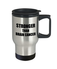 Load image into Gallery viewer, Brain Cancer Travel Mug Awareness Survivor Gift Idea for Hope Cure Inspiration Coffee Tea 14oz Commuter Stainless Steel-Travel Mug