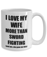 Load image into Gallery viewer, Sword Fighting Husband Mug Funny Valentine Gift Idea For My Hubby Lover From Wife Coffee Tea Cup-Coffee Mug