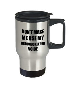Groundskeeper Travel Mug Coworker Gift Idea Funny Gag For Job Coffee Tea 14oz Commuter Stainless Steel-Travel Mug